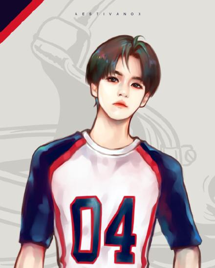 求exo的一套手绘图,手绘的衣服是love me right时期的棒球服