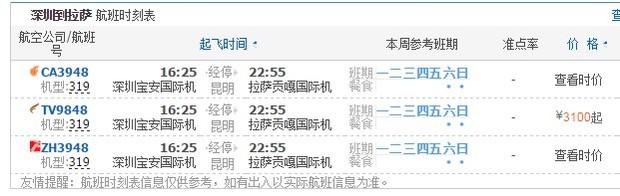 深圳飞拉萨的直达航班时刻表