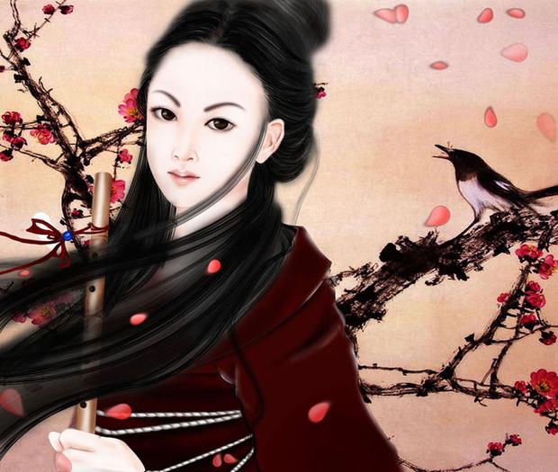 ps鼠绘梅花背景图案的古装美女