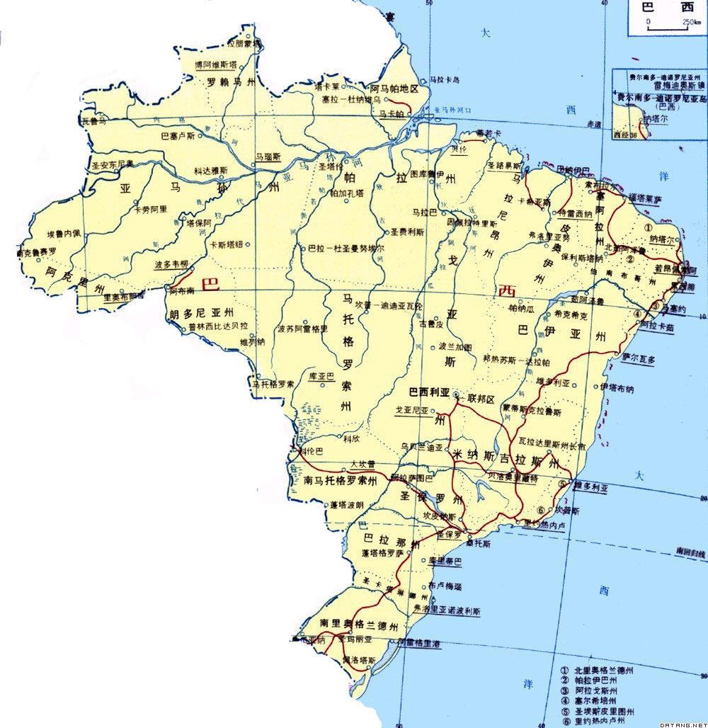 巴西地图手绘简图