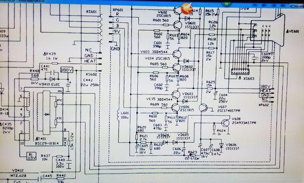 这是相关的电路图,从图上可以看出,加速极电压是从高压包上的加速极