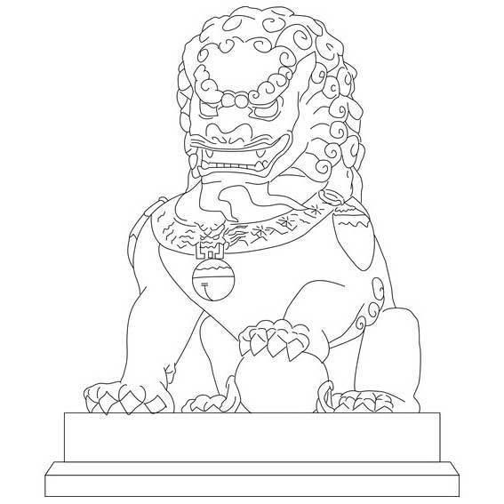学习用手绘线条的形式临摹或创意表现石狮作品