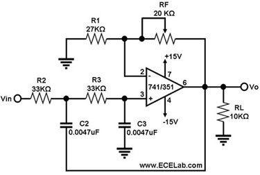 二阶巴特沃斯低通滤波器电路图